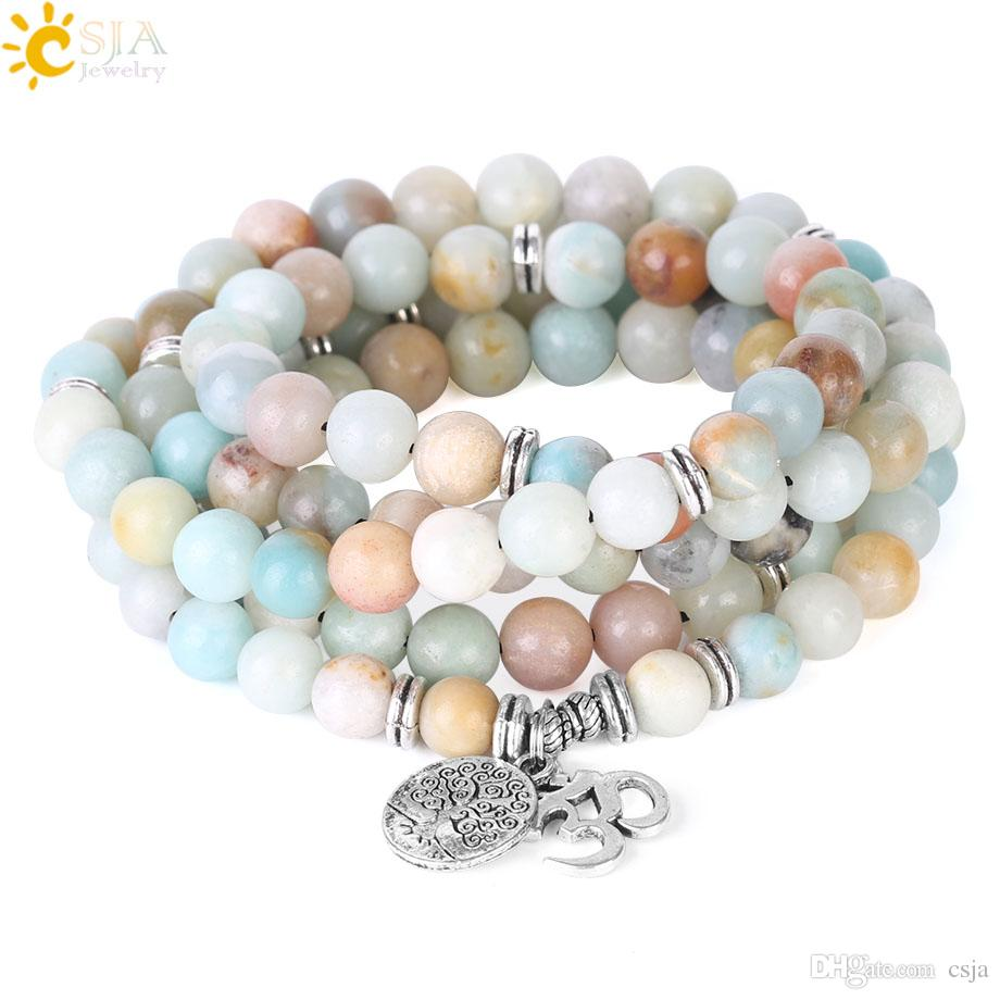 CSJA 108 Mala 8mm Matte Frosted Amazonite Bracelet OM AUM Charms Rosary Bead Bracelets Tree of Life Pendant Reiki Meditation Jewelry F404