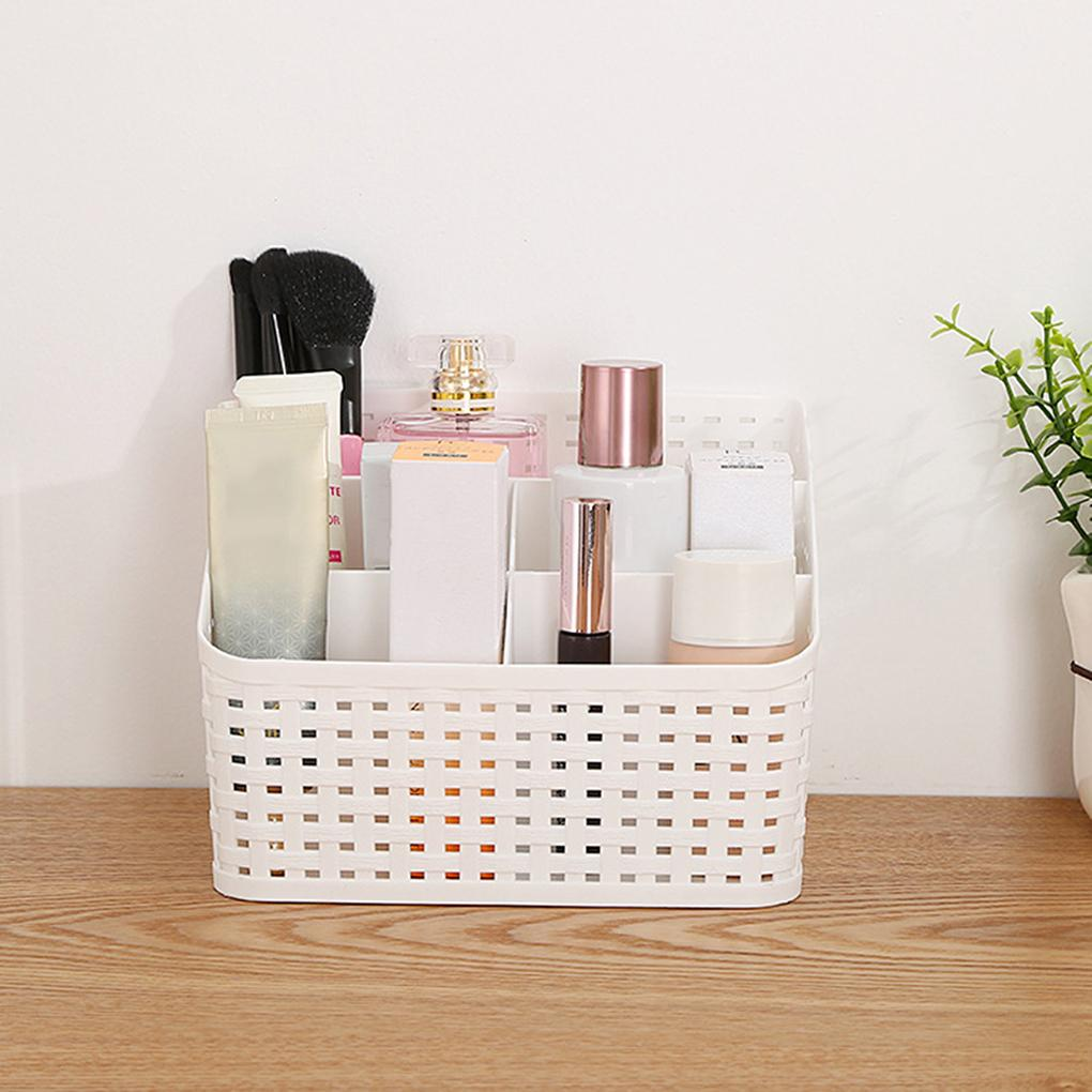 Imitation Rattan Woven Cosmetics Storage Box Multi-Compartment Sundries Storage Rack Plastic Desktop Makeup Container