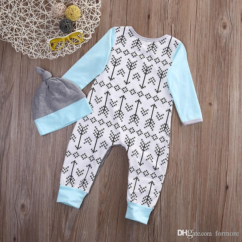 Baby Girl Boys Pajamas Set Children's clothing set Christmas Boutique Clothing Baby Romper Long Sleeve Jumpsuit Hat Boy Clothes Large C