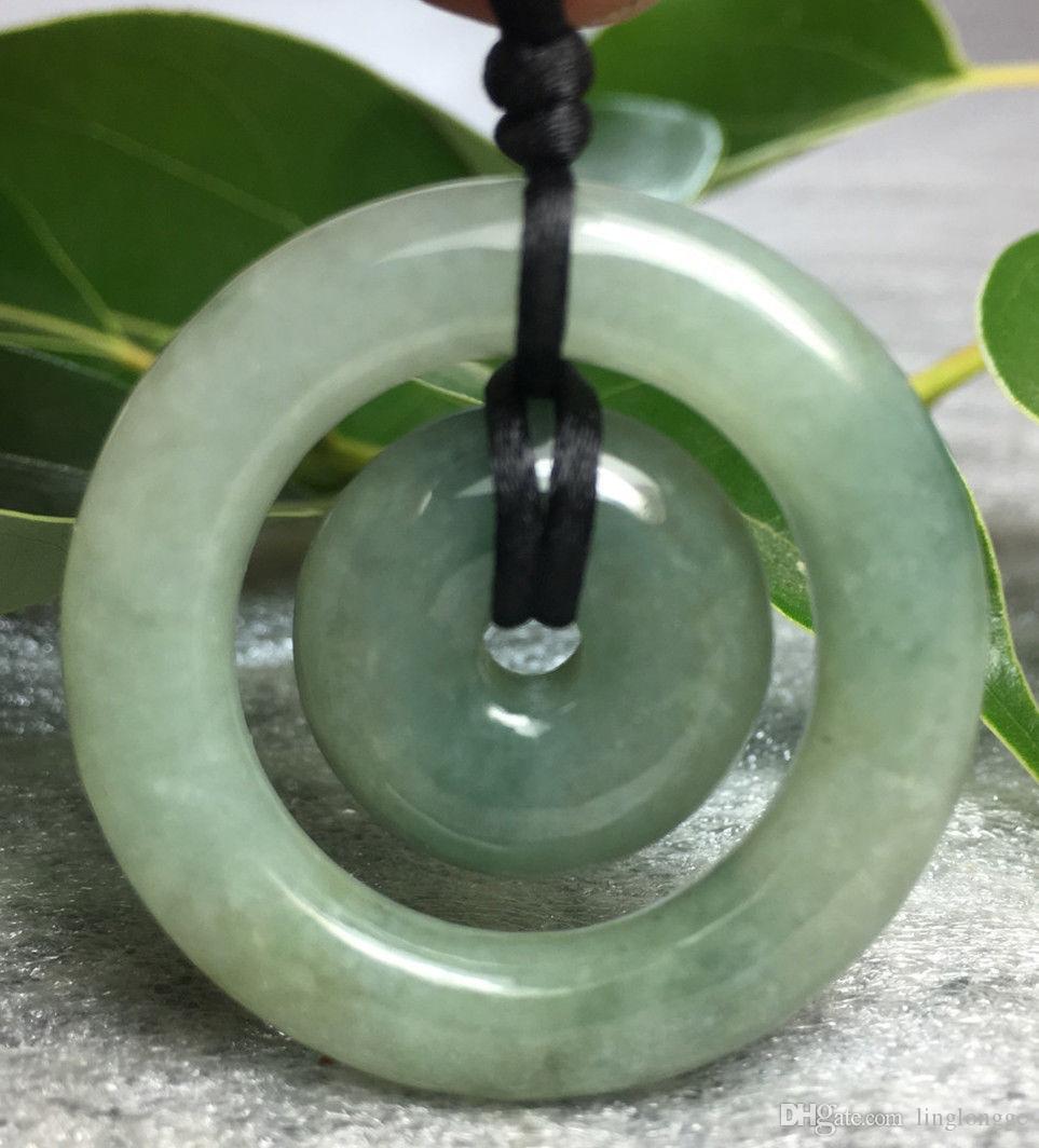 Sertifikalı Çiçek Mavi Doğal Garde A Jade jedeitleri Emniyet Çember Donut kolye