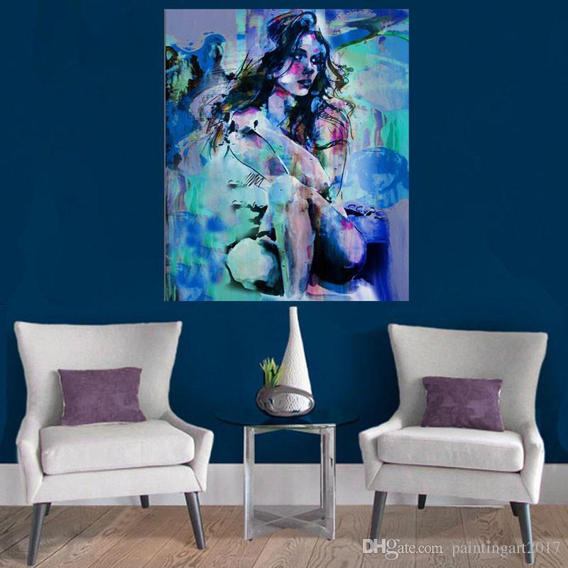 100% ручная роспись большой размер ню картина маслом девушка приседания Сексуальная голая красота современное искусство домашнего декора