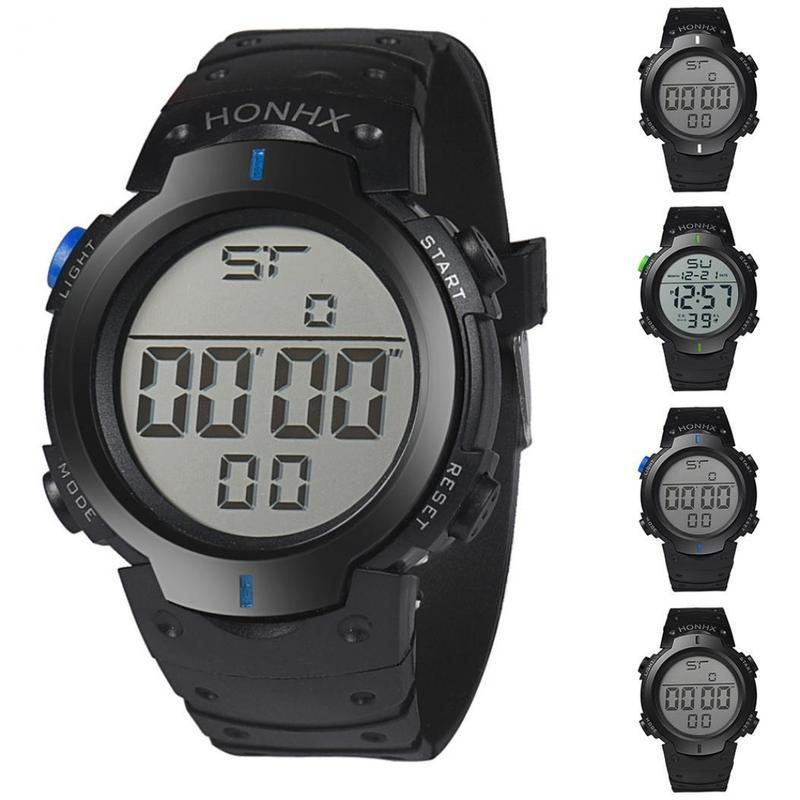 FUNIQUE Reloj de pulsera Casual para hombres Deportes Resistente al agua Led Retroiluminación Reloj de pulsera digital de cuarzo No Relojes de moda a prueba de agua