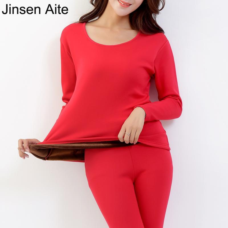 Jinsen Aite Cotton Plus Size XXL-5XL Warm Thick Fleece Conjuntos Long Johns para mujer Casual Solid Winter Femme Ropa interior térmica JS640