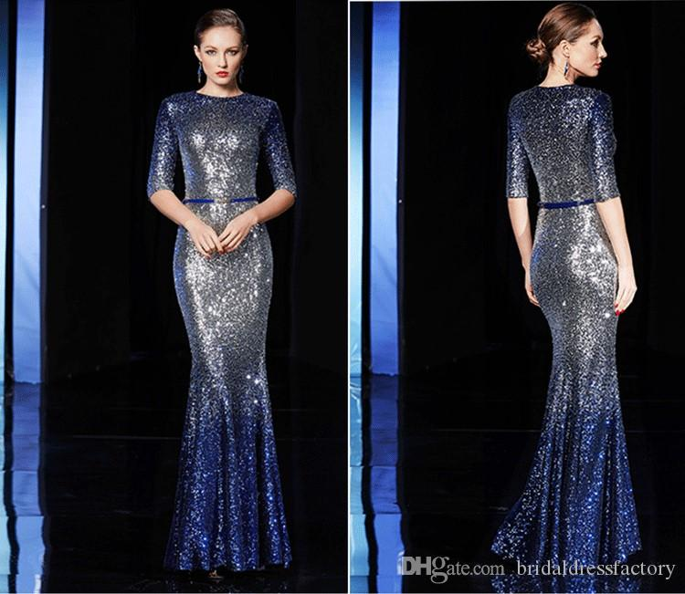 free shipping 2018 new plus size colorful violetta long-sleeve sexy formal evening Venice sequins long party prom mermaid evening dresses
