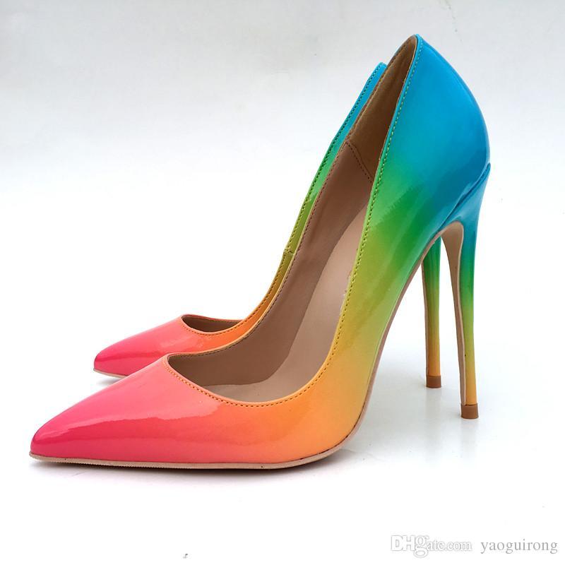Nuevos colores de laca del arco iris europeos y americanos zapatos de tacón alto zapatos de moda sexy solo zapato 8CM 10CM 12CM zapatos 33-45