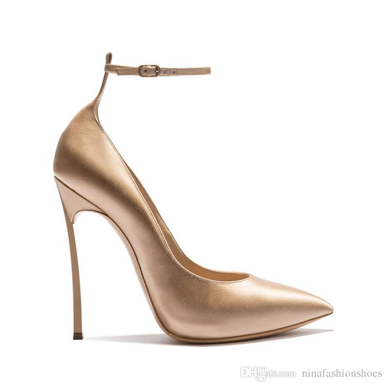 Frühling High Heels Sexy Schuhe Pumps der Frauen Metall Stiletto Absatz Spitze Knöchel Schnalle Damen Hochzeit Kleid Schuhe