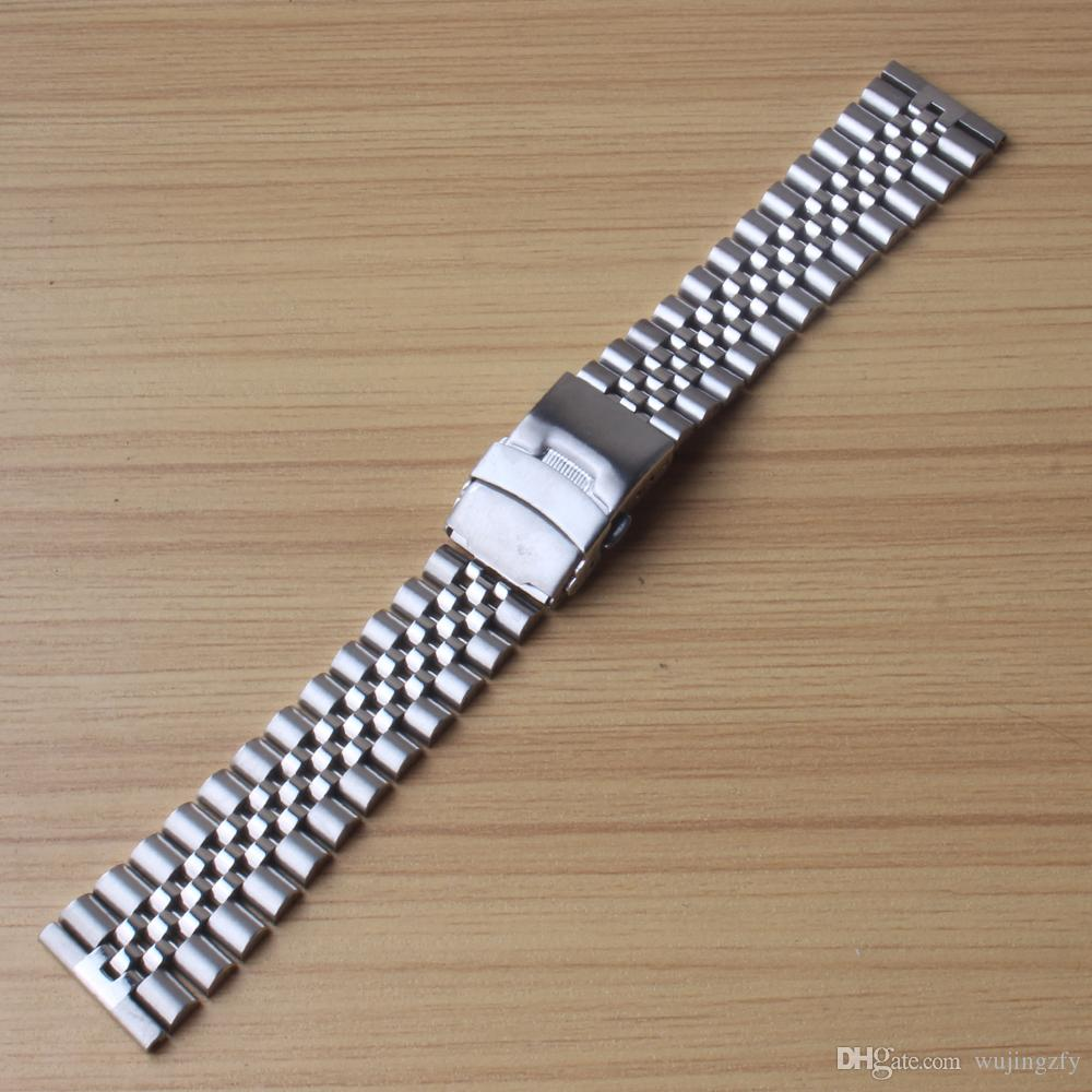 5beads ремешки часов Прямой конец неполированный с полированной серебро из нержавеющей стали ремешок для часов Ремни 20мм 22мм 24мм складной bukcle застежка запястье