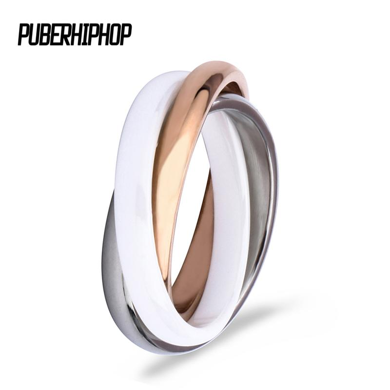 2018 Rose Gold Three Cross Ring Zirconia Moda Bianco Nero Anelli in ceramica Gioielli Vintage Decorazioni in ceramica per le donne