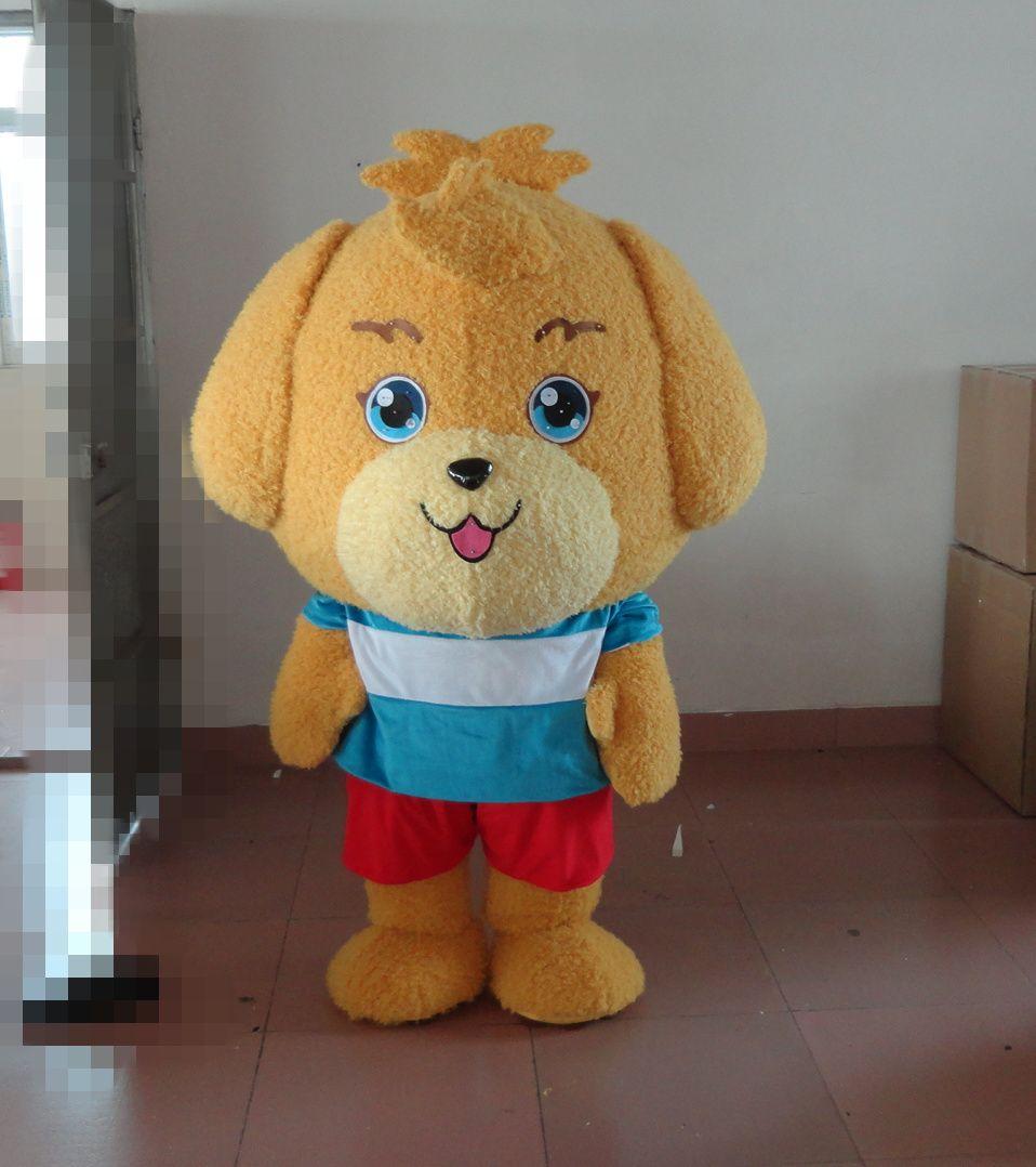 Puppy Dog Maskottchen Kostüme Animiertes Motiv Gelbe Welpen Cospaly Cartoon Maskottchen Charakter Erwachsenen Halloween Karnevalsparty Kostüm