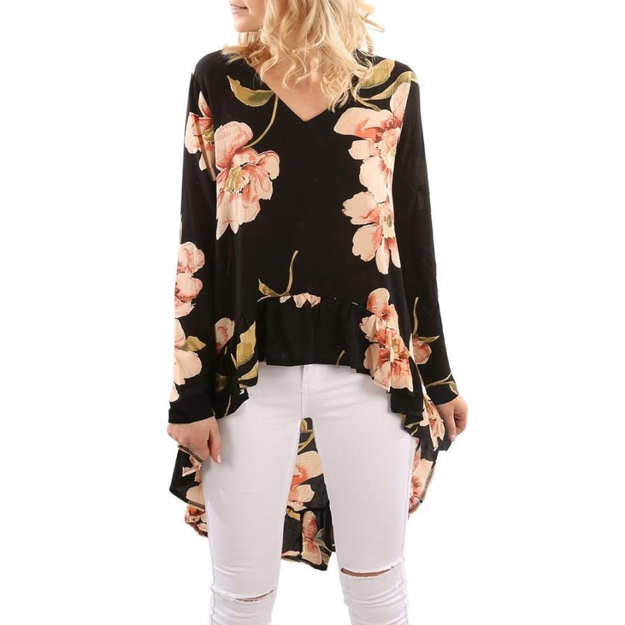 Floral Print High Low Hem High Low Blouse Shirt Women Clothing Butterfly Sleeve Asymmetrical Chiffon Loose Tops Blusas P45X