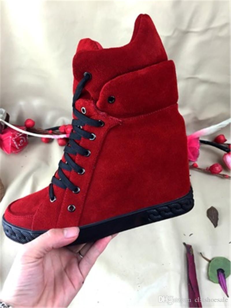 Kadın Sonbahar Kış Moda Yuvarlak Ayak Süet Deri Kama Sneakers Dantel-up İç Yüksekliği Artan Rahat Ayakkabı