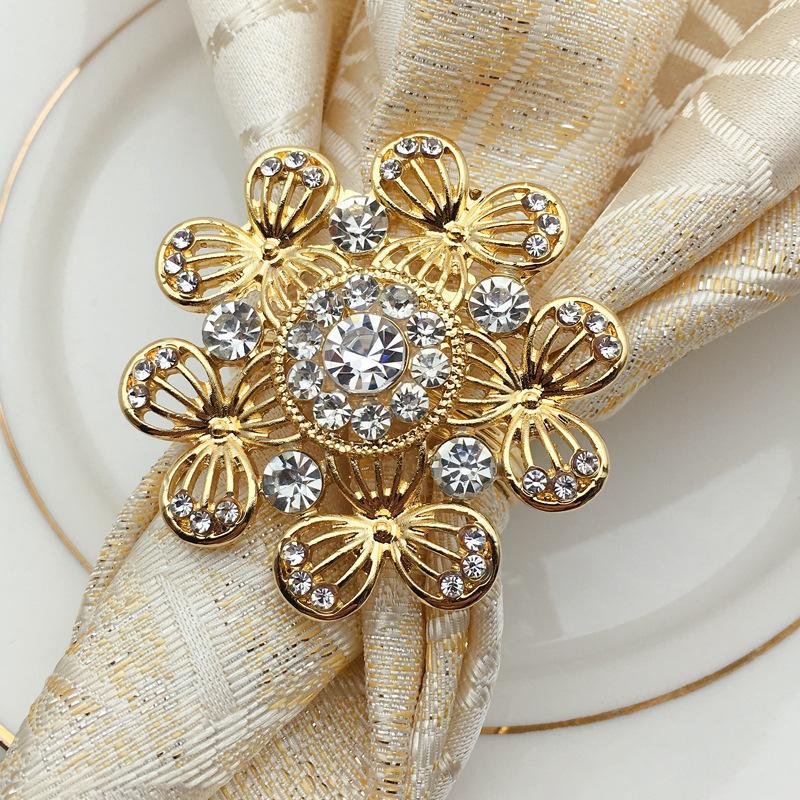 12/PCS Hotel napkin ring high-end napkin clasp metal alloy Chinese European dinner clasp ring mouth towel