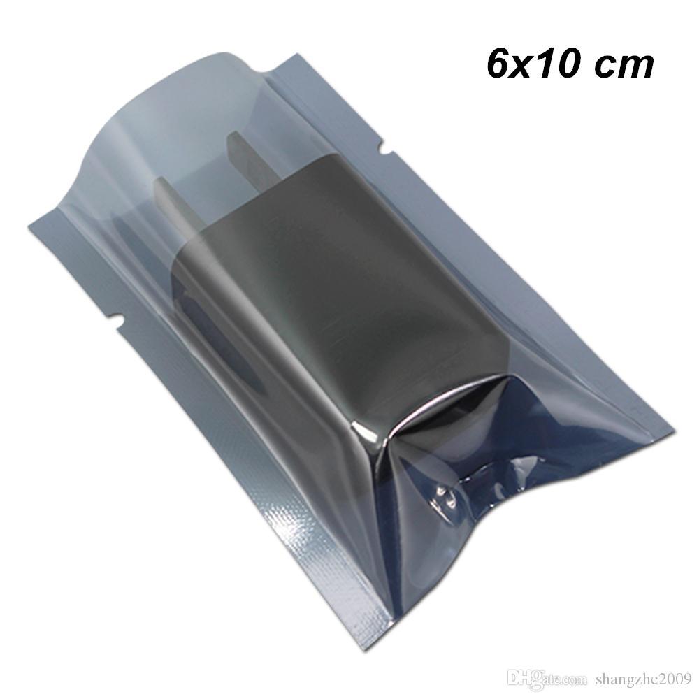 6x10 см Поли-пластик с открытым верхом Антистатическая вакуумная термосвариваемая сумка для USB-кабелей