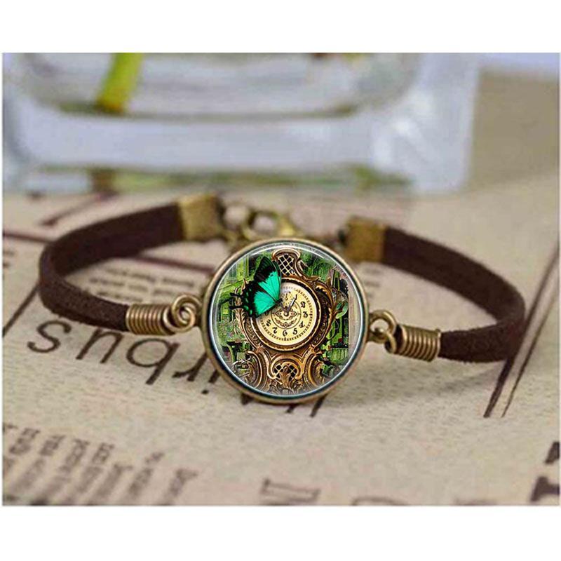 (1 шт / много) Steampunk Сад Часы браслет бабочки браслет сада Ретро Музеальная Punk Аксессуары