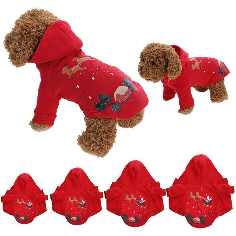 Christmas Soft Winter Warm Pet Dog Clothes Christmas Santa Claus Pet Costume Clothing Jacket Puppy Windproof Hoodie Coat Red