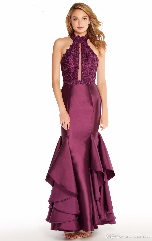 2019 Fashion Marke Lila Mermaid Abendkleid elegante Dame-Halter-Ansatz Appliques Bankett-Kleid geöffnete zurück Gute Qualität