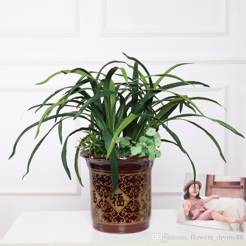 Folha de Gladiolus Artificial falso grama Verde Longo Grama Artificial Plantas De Látex real toque Flores De Seda Deixa Casa de Casamento Decoração Do Escritório