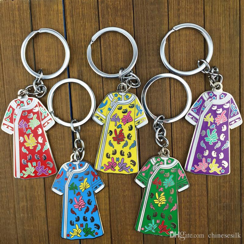 Antique Chinese Clothes shaped Keychain for Women Gift Keyring Metal Zinc Alloy Key Pendant Charms Key chain 2pcs/lot