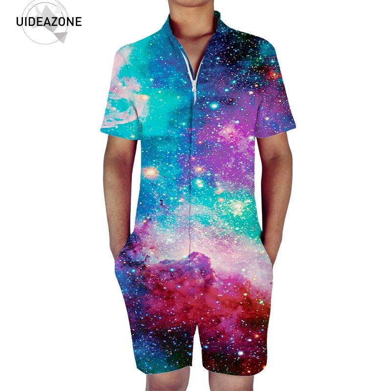 Mens Romper One Piece Short Sleeve Jumpsuit Casual Overalls 2018 New Summer Beach Space Galaxy 3D Graphic Rompers Outfits