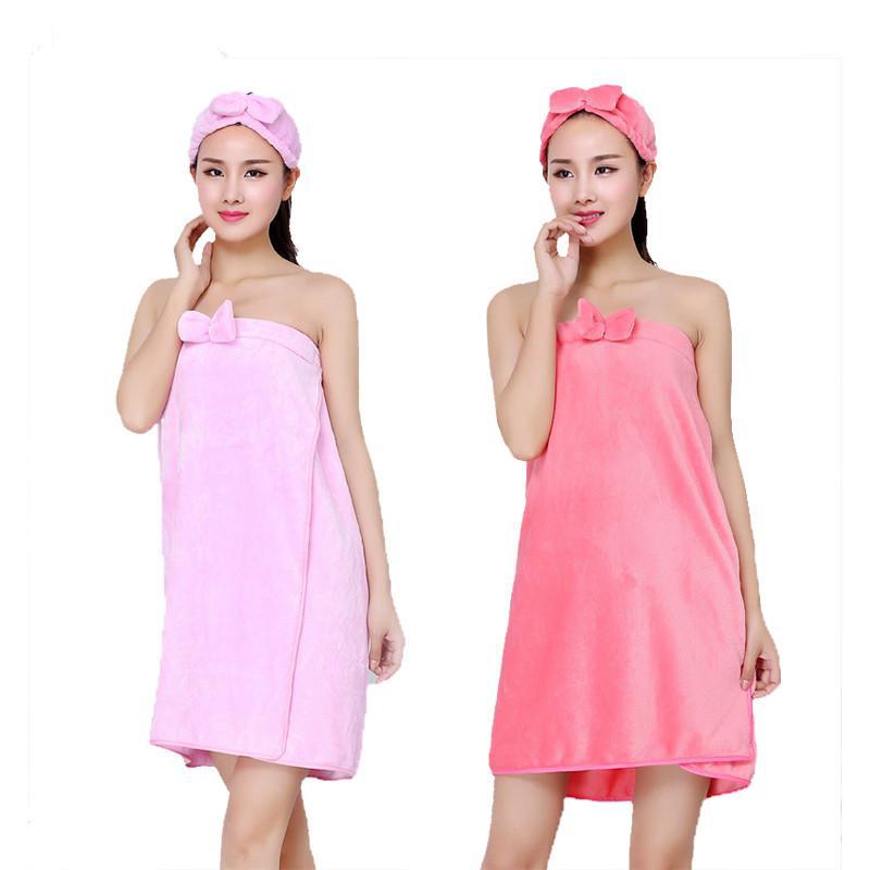 HELLOYOUNG Bowknot Mujeres Toalla de baño Toalla de baño Albornoz Body Spa Toalla de envoltura de arco Juego de cinta Super vestido absorbente