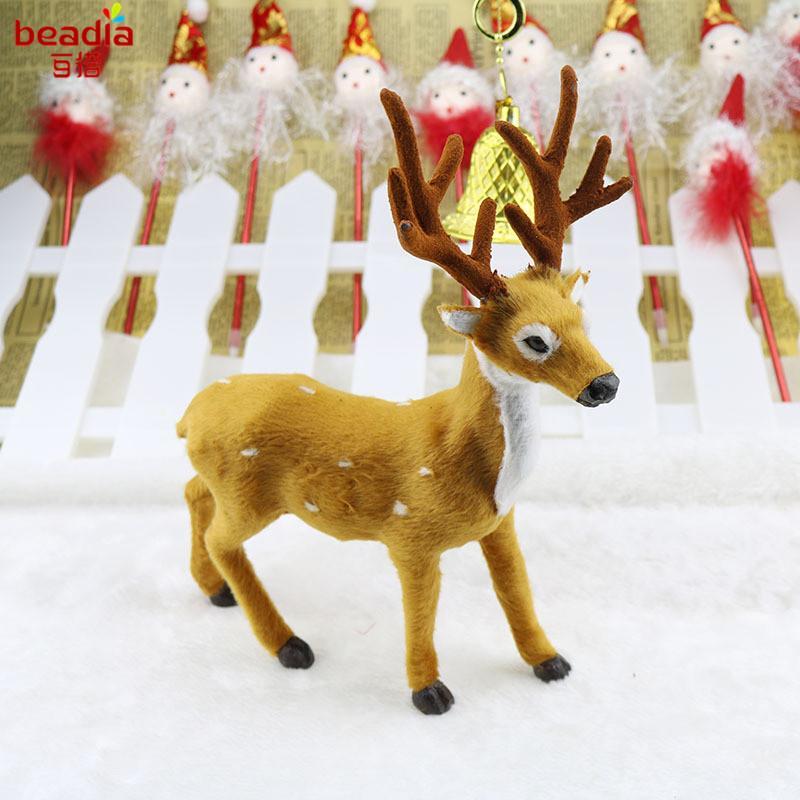 1 PC 15/20 / 25 CM Xmas Elk Plush Simulation Deer Nowy Rok Ozdoby świąteczne Ozdoby do domu Boże Narodzenie prezent