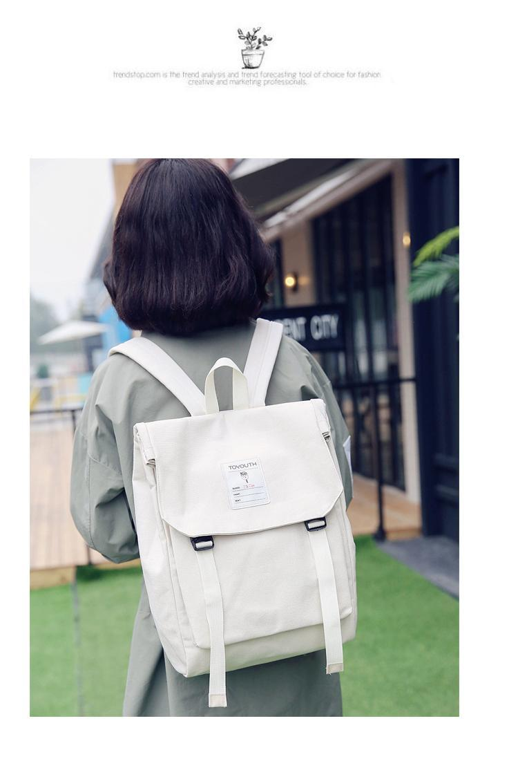 Japanese Canvas Style Handmade Design Korean New Letter Print Simple Wind College Traveling Original Backpacks Collection Bag Qukpn