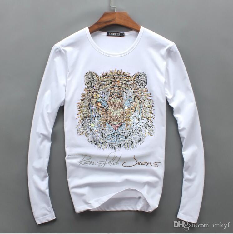 Homens de luxo por atacado de design de diamante de manga Longa moda t-shirt dos homens camisas engraçadas de t marca tops de algodão e tees 0102