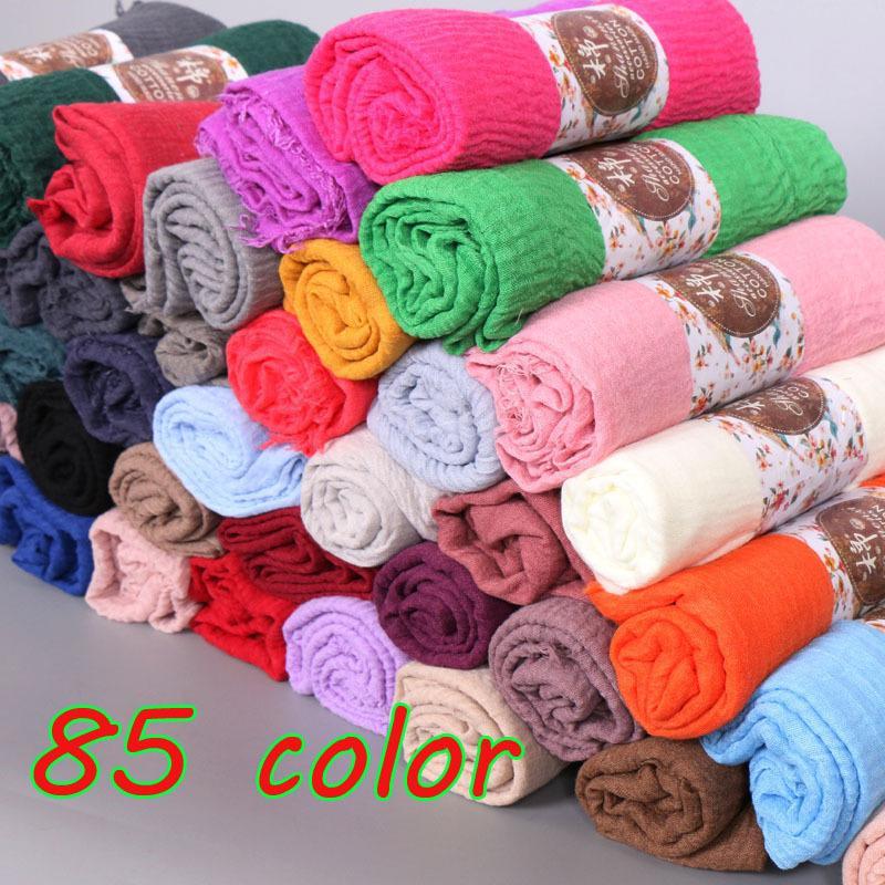 Mujeres arruga burbuja algodón llano popular arruga bufanda mantón musulmán hijab diadema cubre bufandas populares 85 color 10 unids / lote Y18102010