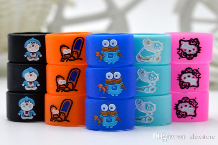 Silicon Vape Band Rings Engraved Cartoon Silicone Rubber Protection Decorative Beauty Ring Diameter 16mm For EVOD EGO T Twist Battery DHL