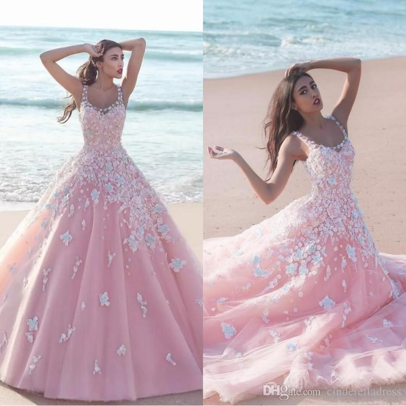 Princess Floral Flower Pink Ball Gown Quinceanera Dresses 2019 Applique Tulle Scoop Sleeveless Lace Bodice Long Prom Dresses Formal Party