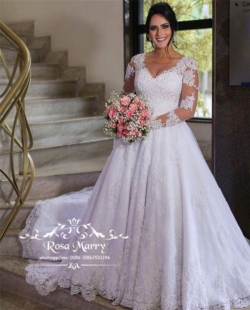 Modest Long Sleeves Winter Wedding Dresses 2020 A Line Scoop Vintage Lace  Muslim Country Plus Size Bridal Gown Cheap Simple Vestido De Novia NZ 2019  ...