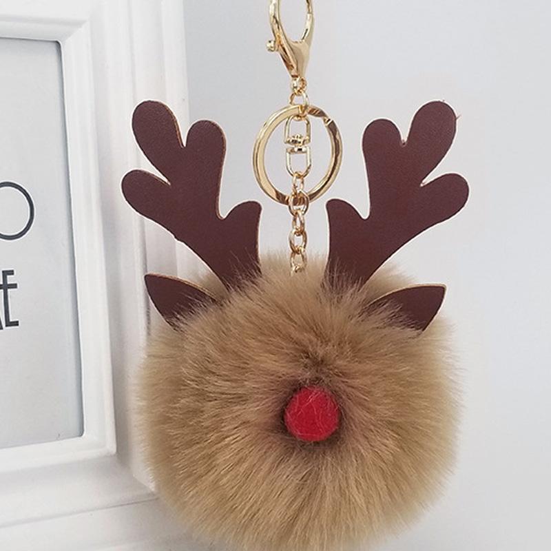 Cartoon Animal Fur Ball Keyring Pendant Jewelry Cute Fluffy Ball Key Chain Elk Key Ring Bag Car Handbag Decor Ornaments Christmas Gift H668F