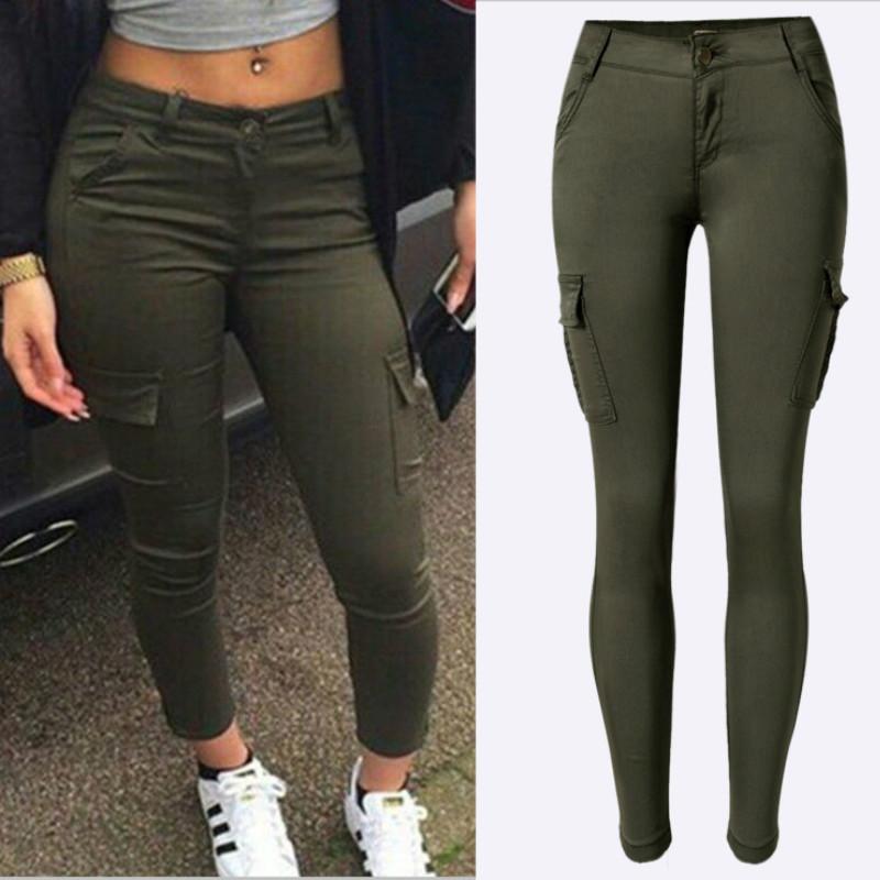 mejor servicio a8851 2b144 Compre 2019 Nuevo Ejército Verde Bolsillos Pantalones De Las Mujeres De  Moda De Algodón Safari Estilo De Alta Elásticos Vaqueros Flacos Mujer ...