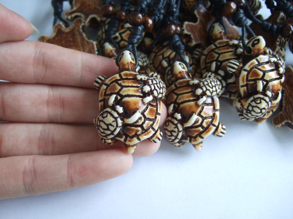 Ethnic Tribal Faux Yak Bone Carving Animal Surfer Sea Turtle Pendant Necklace Innovatis Suisse Ch