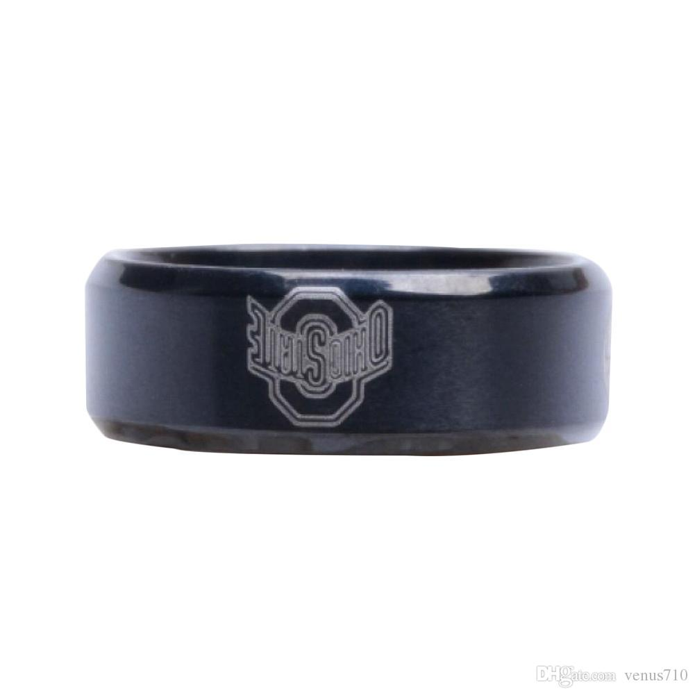 New Arrival Black Ohio State University Sign Stainless Steel Men Ring Male Ring