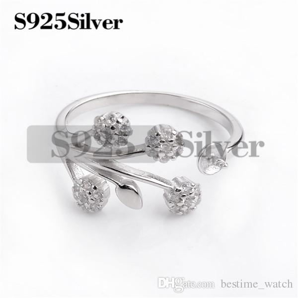 HOPEARL Jewelry Floral Ring Findings Zircon 925 Sterling Silver Settings Pearl Semi Mount DIY 3 Pieces