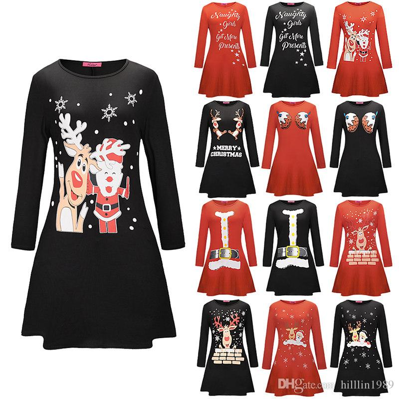 7 Designs Autumn Winter Women Christmas Dress 2018 Plus Size Print Elk Snowflake Long Sleeve Mini Party Dress