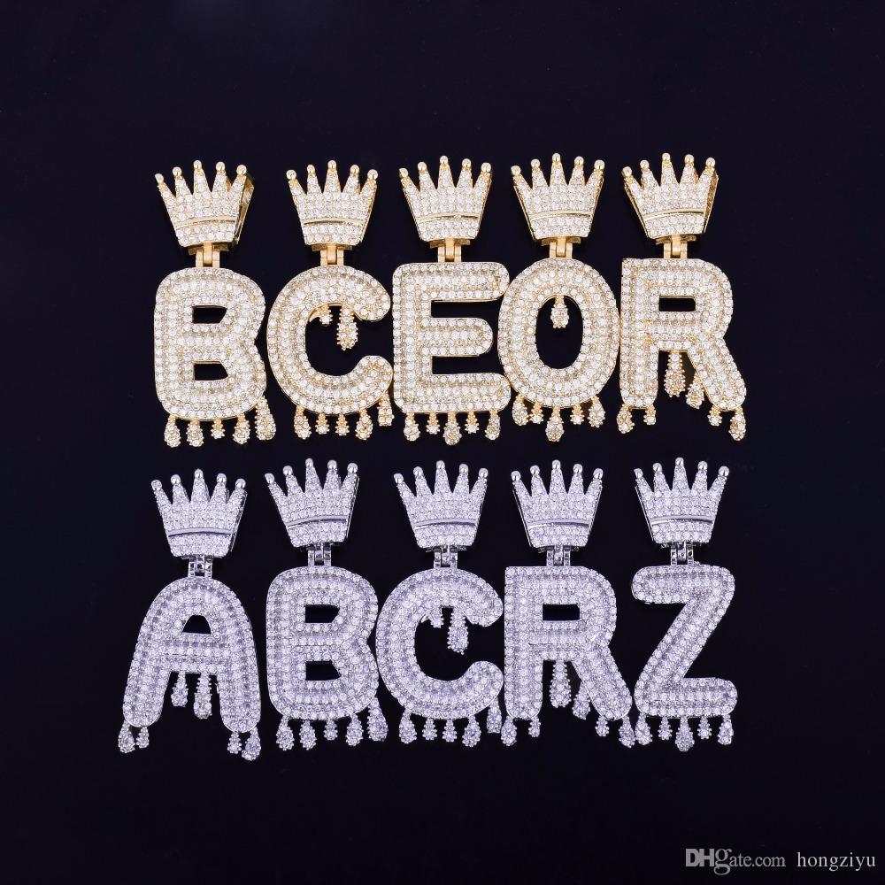 New Crown Bail nome personalizado Letters Colar Cubic Zircon Hip Hop Jóias de gotejamento Letters Pendant Homens com a corrente 4 milímetros Tennis 18inch