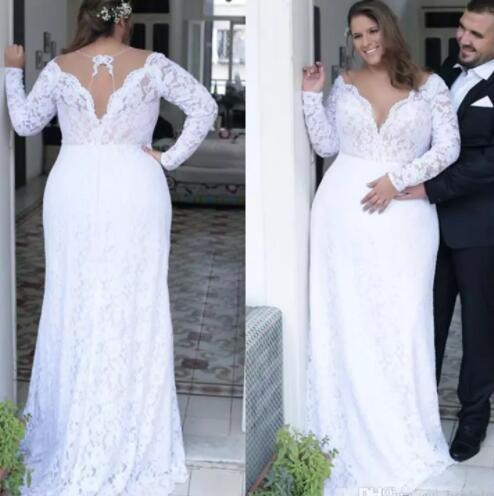 Discount Plus Size Wedding Dresses Long Sleeves Full Lace Bohemian Beach  Bridal Gowns Cheap Vestido De Novia Wedding Dress Designs Wedding Dress For  ...