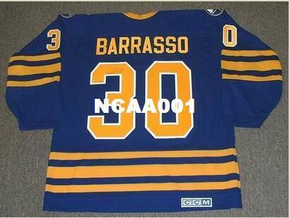 Мужские # 30 TOM BARRASSO Buffalo сабли 1985 СКК старинные прочь хоккей Джерси или обычай любое имя или номер ретро Джерси