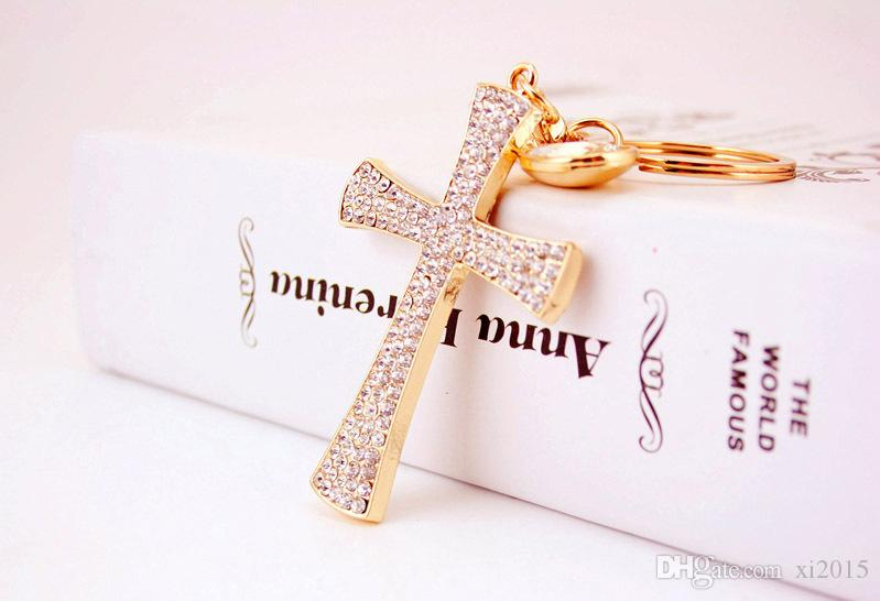 free shipping rhinestone cross keychain purse pendant baby showers baptism christening party favors and giveaway gifts wen5788