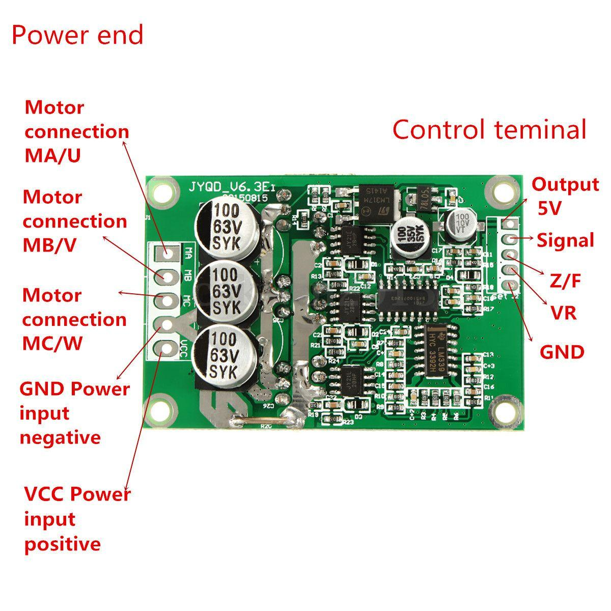 Freeshipping DC 12V 24V 36V 500W Brushless Motor Drive Board Balanced Car BLDC Controller