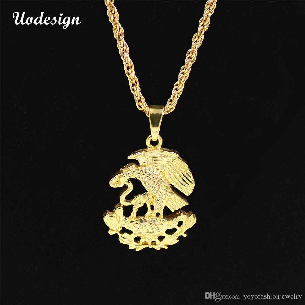 Uodesign Hip Hop Iced Out Bling Eagle Eat Snake Colgantes Collares Collar de color dorado para hombre Joyería