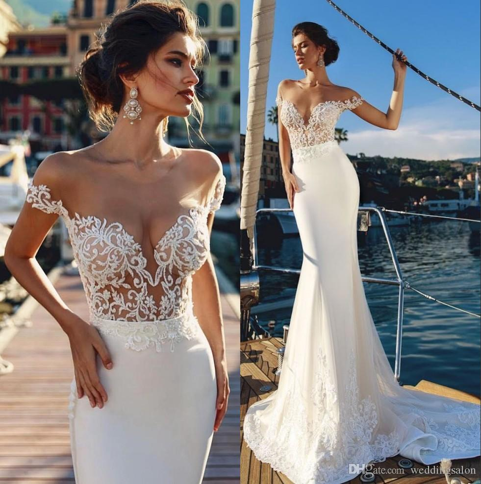 놀라운 인어 backless 웨딩 드레스는 분리형 기차 Tulle vestido de novia와 어깨 레이스 트럼펫 신부 가운에서 깎아 지른 듯합니다