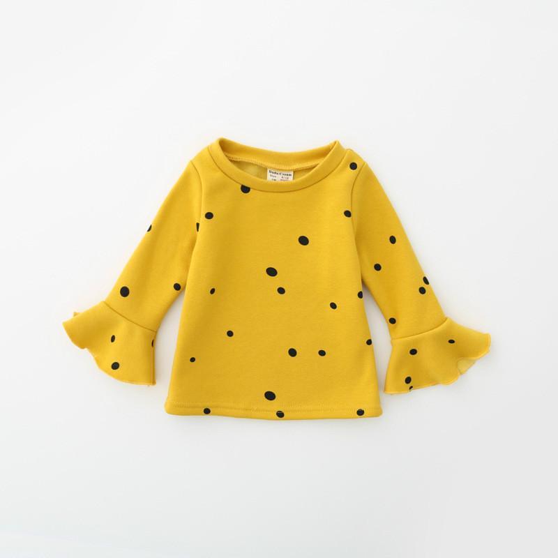 جديد الخريف والشتاء طفل الفتيات تي شيرت طفل طويل كشكش الأكمام دوت الأعلى أزياء الرضع ملابس الاطفال