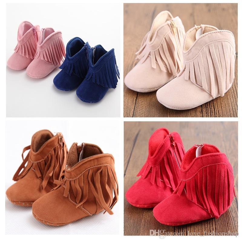 6 ألوان الطفل أطفال أحذية عالية جلد طبيعي الشرابة الأحذية أحذية الأطفال طفل فتاة أحذية الرضع مشوا الأولى maccasions