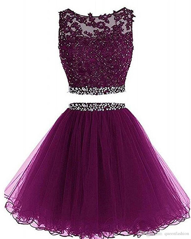 2020 Two Pieces Prom Dress apliques de renda curtos com cristal frisado Keyhole Voltar Tulle partido do doce 16 vestidos de formatura Baile Vestidos