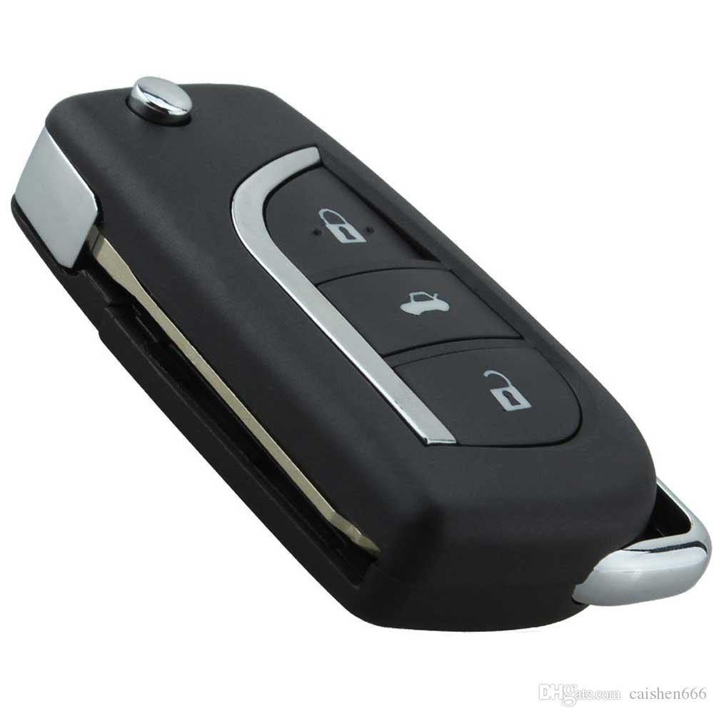 Car 4 Buttons Modified Replacement Shell Folding Flip Remote Key Case Fob For Toyota 3Button Uncut TOY43 /TOY48 Blade