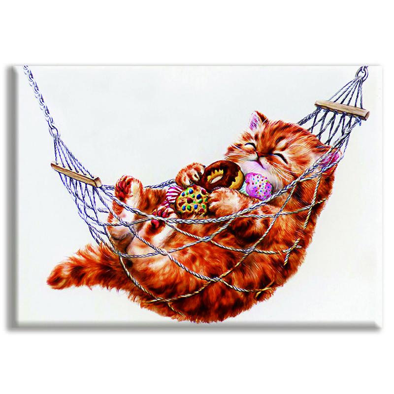 Bricolaje, Costura, kits, bordado completo, Decoración del hogar, Gato, animales, lienzo impreso, Dmc, punto de cruz