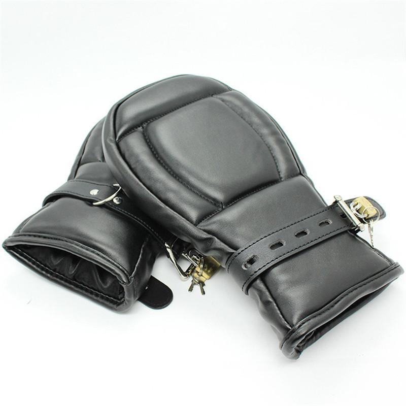 adult game Locking Goth Padded Mittens Gloves Dog Paw Palm Leather Bondage Restraints Sex Toys For woman men Couples Products Y18102405